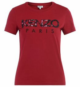 Kenzo T Shirt In Cherry-colored Cotton, Front Logo