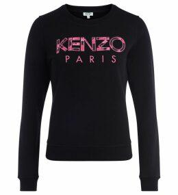 Kenzo Black Cotton Sweatshirt With Print Pink Logo