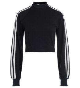 Y-3 Black Crewneck Sweatshirt With White Side Stripes