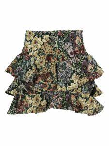Wandering Jacquard Floral Print Ruffled Skirt
