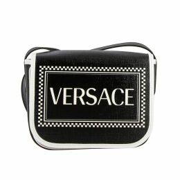Versace Crossbody Bags Versace Vintage 90s Leather Shoulder Bag With Logo Print