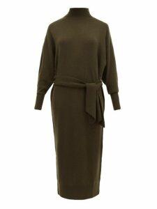 Zimmermann - Espionage Belted Wool Blend Sweater Dress - Womens - Dark Olive