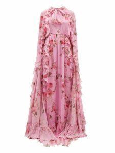 Giambattista Valli - Peony Print Ruffle Trimmed Silk Cape Gown - Womens - Pink Multi