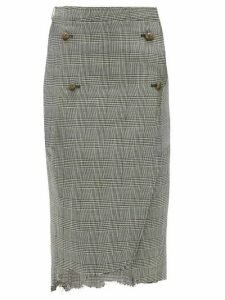 Vetements - Raw Edge Prince Of Wales Checked Pencil Skirt - Womens - Grey Multi