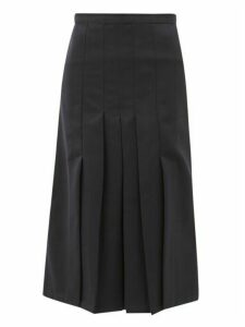 Giuliva Heritage Collection - The Verena High Rise Pleated Wool Twill Skirt - Womens - Navy