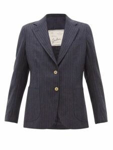 Giuliva Heritage Collection - The Andrea Shadow Striped Wool Blazer - Womens - Navy Multi