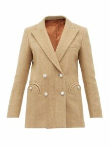Blazé Milano - Lady Anne Double Breasted Herringbone Blazer - Womens - Beige White