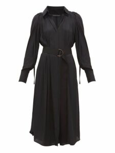 Carl Kapp - Pheasant Ruched Shoulder Satin Faille Midi Dress - Womens - Navy
