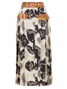 La Prestic Ouiston - Shawna Silk Floral Print Midi Skirt - Womens - Ivory Multi