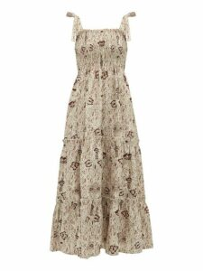 Sir - Stella Shirred Floral Print Linen Dress - Womens - Beige