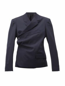 Martine Rose - Double Breasted Wrap Wool Twill Blazer - Womens - Navy