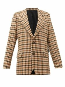 Ami - Single Breasted Checked Wool Blazer - Womens - Brown Multi