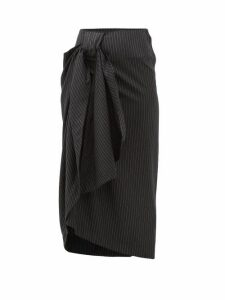 Edward Crutchley - Pinstriped Wool Twill Midi Skirt - Womens - Black