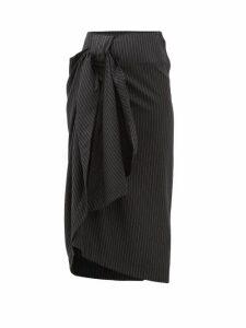 Edward Crutchley - Pinstriped Wool Twill Midi Skirt - Womens - Black
