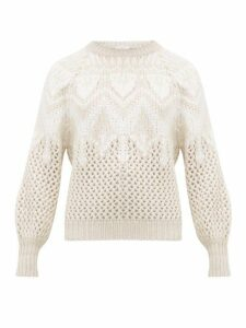 Brunello Cucinelli - Opera Open Knit Cashmere & Silk Sweater - Womens - Ivory