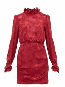 Saloni - Rina Ruffled Silk Blend Jacquard Mini Dress - Womens - Burgundy
