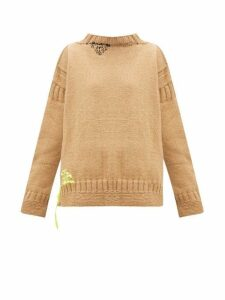 La Fetiche - Louise Patchwork Wool Sweater - Womens - Camel