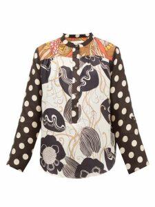 La Prestic Ouiston - Romee Floral And Polka Dot Silk Twill Blouse - Womens - Black White