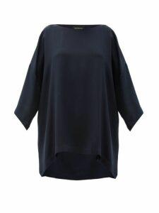 Eskandar - Boat Neck Oversized Silk Crepe T Shirt - Womens - Navy