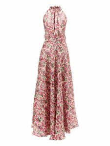 Raquel Diniz - Giovanna Floral Print Silk Lamé Dress - Womens - Pink Multi