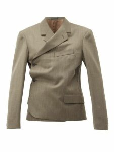 Martine Rose - Double Breasted Wrap Wool Blazer - Womens - Brown