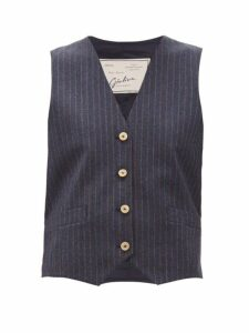 Giuliva Heritage Collection - The Andrea Shadow Striped Wool Twill Waistcoat - Womens - Navy Multi