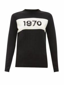 Bella Freud - 1970 Sequinned Wool Sweater - Womens - Black White
