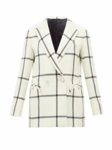 Blazé Milano - Magda Windowpane Check Wool Blazer - Womens - White Black