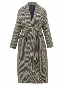 Blazé Milano - Whistler Herringbone Wool Coat - Womens - Black White