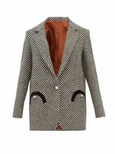 Blazé Milano - Sedov Herringbone Twill Single Breasted Blazer - Womens - Black White