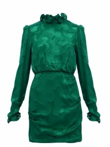 Saloni - Rina Ruffled Silk Blend Jacquard Mini Dress - Womens - Dark Green
