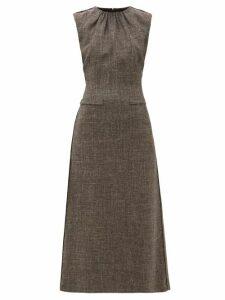 Carl Kapp - Crested Sleeveless Wool Blend Tweed Midi Dress - Womens - Brown Multi