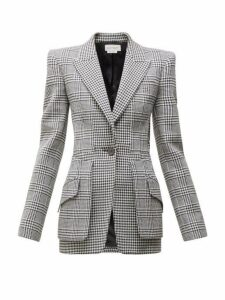 Alexander Mcqueen - Single Breasted Houndstooth Wool Blazer - Womens - Black White