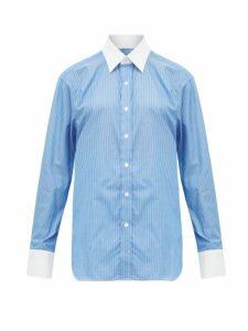 Emma Willis - Pinstriped Cotton Shirt - Womens - Blue White