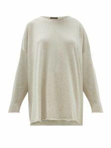 Eskandar - Boat Neck Cashmere Sweater - Womens - Light Grey