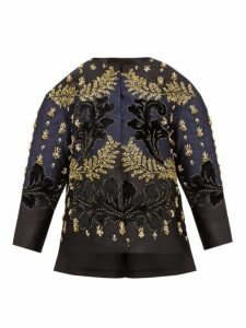 Biyan - Costa Crystal Embellished Silk Blend Jacket - Womens - Black Navy