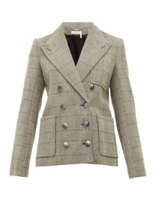 Chloé - Checked Double Breasted Wool Blend Blazer - Womens - Grey Multi