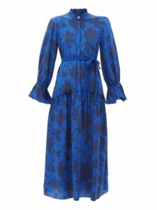 Beulah - Darsha Floral Print Silk Midi Dress - Womens - Blue Print