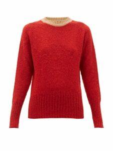 La Fetiche - Viva Contrast Trim Wool Sweater - Womens - Red