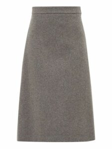 Prada - High Rise Wool Midi Skirt - Womens - Grey