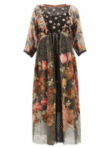 Biyan - Inggrid Embroidered Patchwork Devoré Dress - Womens - Black Pink