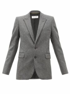 Saint Laurent - Single Breasted Wool Blazer - Womens - Grey