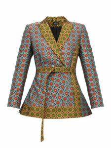 Saloni - Maxima Belted Floral Brocade Blazer - Womens - Green Multi