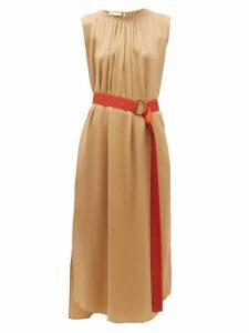 Carl Kapp - Oriole Gathered Neck Hammered Silk Dress - Womens - Gold