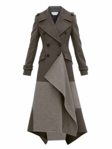 Alexander Mcqueen - Draped Double Breasted Wool Blend Coat - Womens - Grey Multi