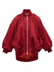 Undercover - Draped Silk Satin Bomber Jacket - Womens - Burgundy