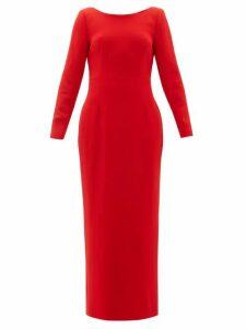 Rebecca De Ravenel - Jamie Scoop Neck Wool Crepe Maxi Dress - Womens - Red