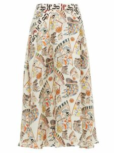 La Prestic Ouiston - Burty Seeing You Print Silk Midi Skirt - Womens - Ivory Multi