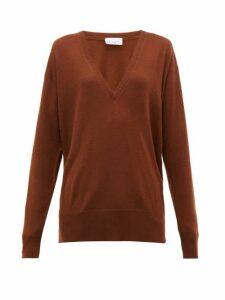 Raey - V Neck Fine Knit Cashmere Sweater - Womens - Dark Orange