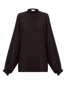 Raey - Gathered Balloon Sleeved Silk Crepe De Chine Top - Womens - Black